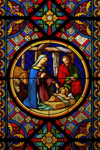 stained glass manger scene