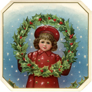 victorian little girl with wreath
